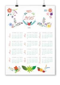 calendario colgante floral