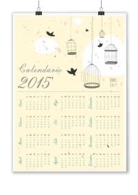 calendario colgante pájaros